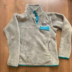 Patagonia Small Fleece Gray Teal Snap Soft Cozy